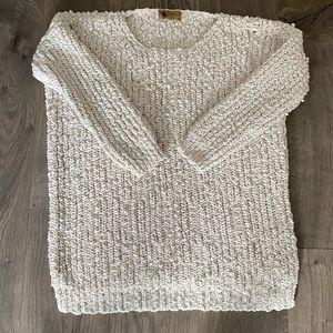 Chunky Cream and Gold Sweater Size Medium